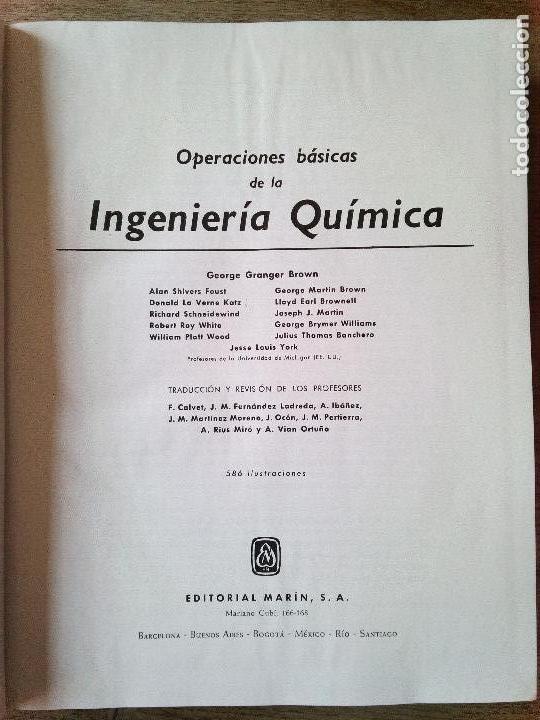 Libros de segunda mano de Ciencias: Operaciones Básicas de la Ingeniería Química -Editorial Marín - 1955 (Envío 4,31€) - Foto 3 - 136039394