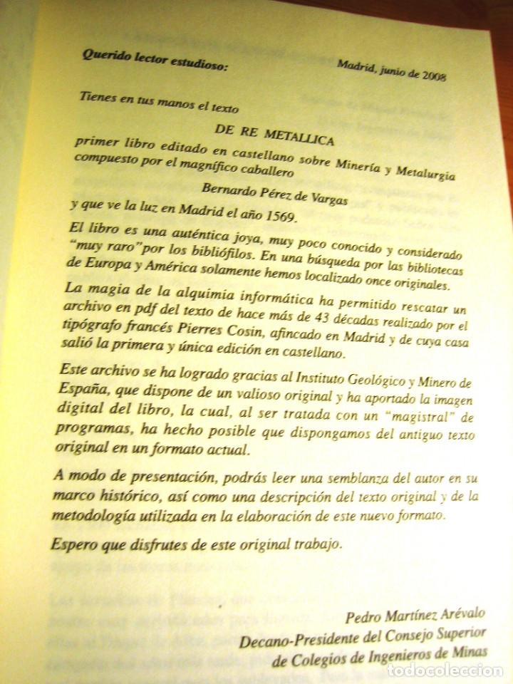 Libros de segunda mano: DE RE METALICA- Perez de Vargas. Numerado 000375- Consejo Sup. Ingenieros de Minas- - Foto 3 - 138392702