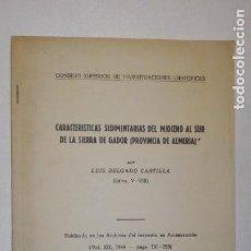 Libros de segunda mano: CARACTERÍSTICAS SEDIMENTARIAS DEL MIOCENO AL SUR DE LA SIERRA DE GÁDOR (PROVINCIA DE ALMERÍA) 1974. Lote 139761346