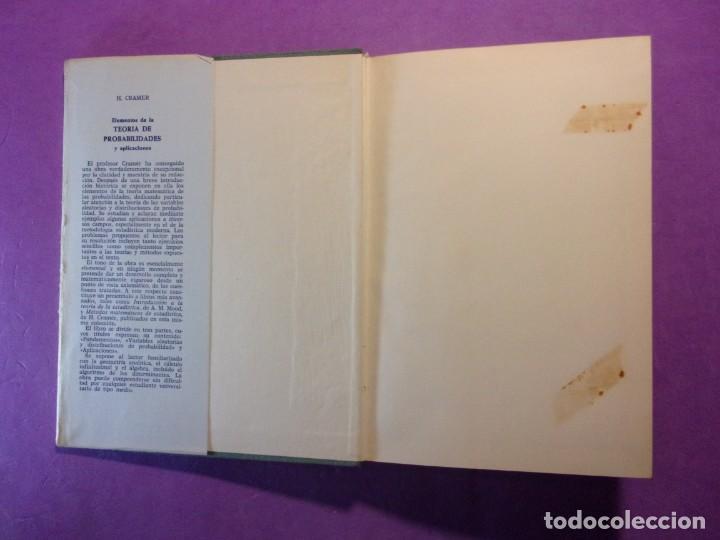 Libros de segunda mano de Ciencias: ELEMENTOS DE LA TEORÍA DE PROBABILIDADES Y APLICACIONES / Harald Cramer / 1966. Aguilar - Foto 2 - 140339902