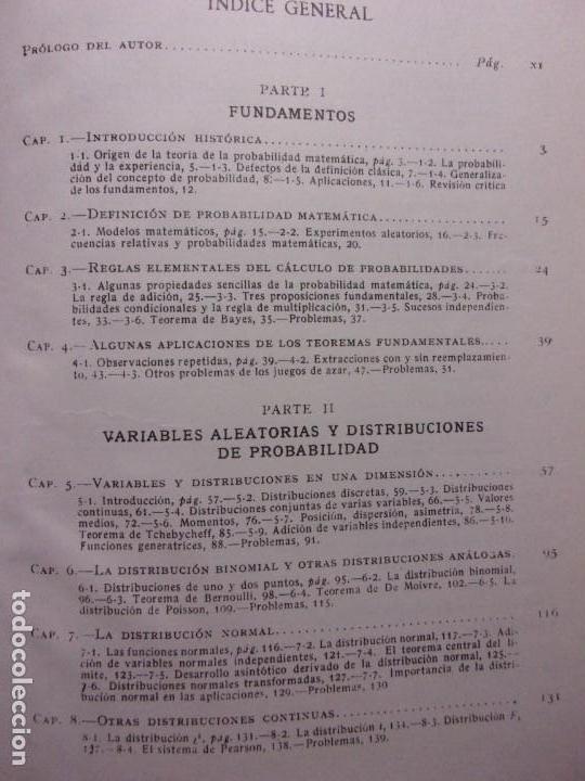 Libros de segunda mano de Ciencias: ELEMENTOS DE LA TEORÍA DE PROBABILIDADES Y APLICACIONES / Harald Cramer / 1966. Aguilar - Foto 3 - 140339902