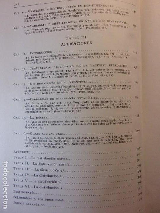 Libros de segunda mano de Ciencias: ELEMENTOS DE LA TEORÍA DE PROBABILIDADES Y APLICACIONES / Harald Cramer / 1966. Aguilar - Foto 4 - 140339902