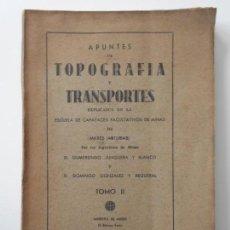 Libros de segunda mano: APUNTES DE TOPOGRAFIA Y TRANSPORTES. EXPLICADOS EN LA ESCUELA DE CAPATACES FACULTATIVOS DE MINAS DE. Lote 144088250