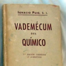 Second hand books of Sciences - VADEMECUM DEL QUÍMICO - IGNACIO PUIG - VER INDICE - 144759174