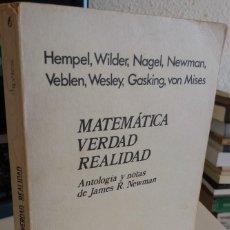 Libros de segunda mano de Ciencias: MATEMÁTICA VERDAD REALIDAD - AA.VV. Lote 145971006