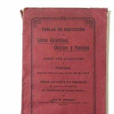 Libros de segunda mano de Ciencias: JOSÉ G. CALCAGNO TABLAS DE REDUCCIÓN DE LIBRAS ESTERLINAS, CHELINES Y PENIQUES A PESOS ORO,. Lote 147627690
