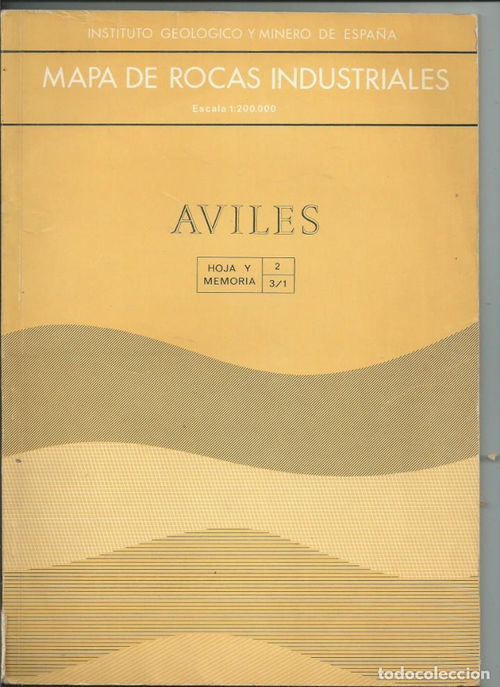 MAPA DE ROCAS INDUSTRIALES. E.1:200000. AVILÉS. ASTURIAS. 1973 (Libros de Segunda Mano - Ciencias, Manuales y Oficios - Paleontología y Geología)