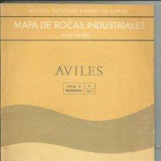 Libros de segunda mano: MAPA DE ROCAS INDUSTRIALES. E.1:200000. AVILÉS. ASTURIAS. 1973. Lote 148034718