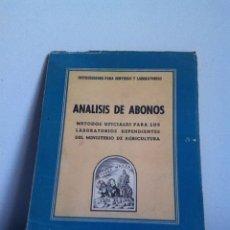 Libros de segunda mano: ANÁLISIS DE ABONOS. 1953. Lote 148453946