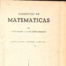 Libros de segunda mano de Ciencias: ELEMENTOS DE MATEMATICAS. A-MAT-476. Lote 148824262