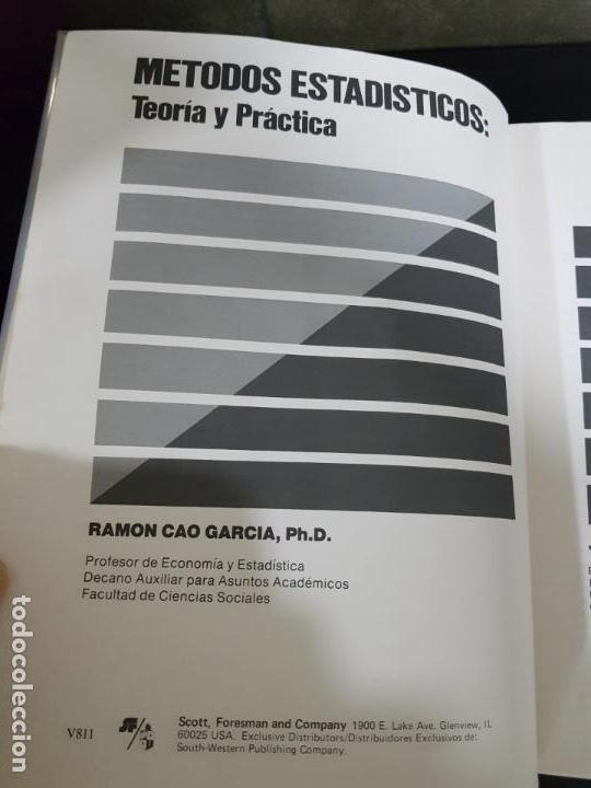 Libros de segunda mano de Ciencias: METODOS ESTADISTICOS, TEORIA Y PRÁCTICA.RAMON CAO GARCIA. - Foto 2 - 148957466