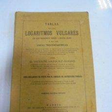 Libros de segunda mano de Ciencias: TABLAS DE LOS LOGARITMOS VULGARES. VICENTE VAZQUEZ QUEIPO. 29º EDICION. MADRID 1943. RUSTICA. Lote 149016018