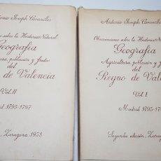 Libros de segunda mano: OBSERVACIONES DEL REYNO DE VALENCIA .CAVANILLES. SEGUNDA EDICION. Lote 149322526
