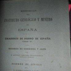 Livres d'occasion: MEMORIAS DEL INSTITUTO GEOLÓGICO Y MINERO DE ESPAÑA, HIERROS DE CÓRDOBA Y JAÉN Y SEVILLA, 1944. Lote 149521238