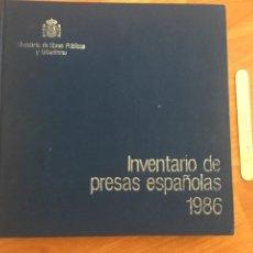 Libros de segunda mano: DIRECCION GENERAL DE OBRAS HIDRAULICAS. INVENTARIO DE PRESAS ESPAÑOLAS 1986. MOPU. Lote 150627466