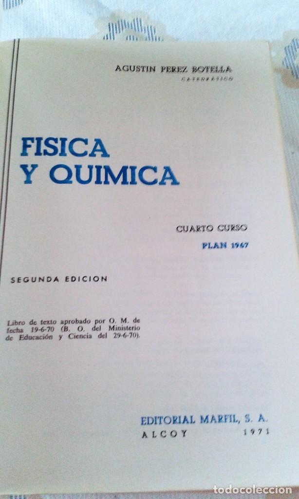Libros de segunda mano de Ciencias: FÍSICA Y QUÍMICA 4º CURSO AGUSTÍN PÉREZ BOTELLA MARFIL - Foto 4 - 151533150