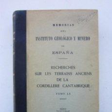 Libros de segunda mano: PIERRE COMTE. RECHERCHES SUR LES TERRAINS ANCIENS DE LA CORDILLÈRE CANTABRIQUE. 1959. Lote 153787386