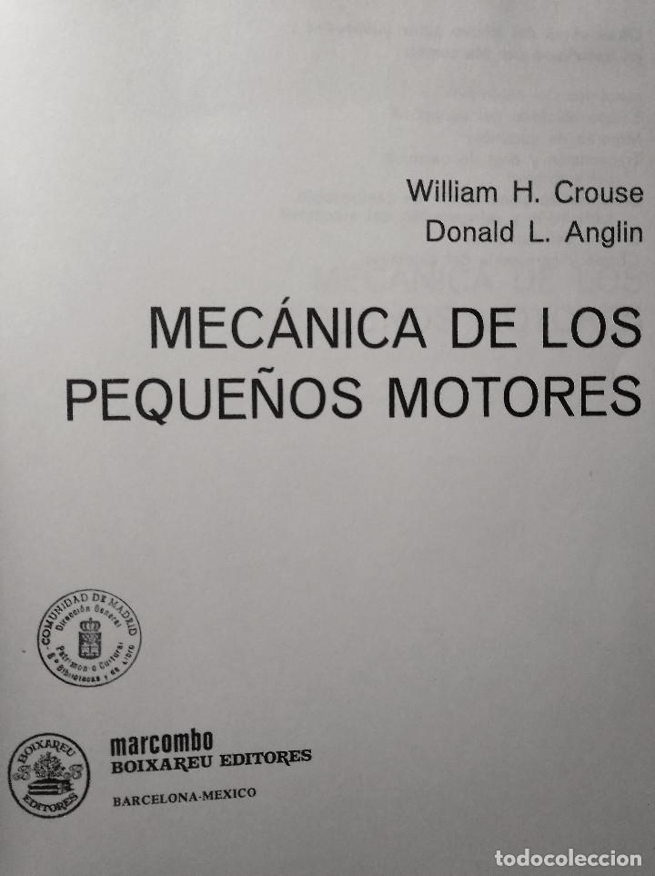 Libros de segunda mano de Ciencias: Mecánica de los pequeños motores, Crouse - Anglin, 1986 - Foto 2 - 153859498