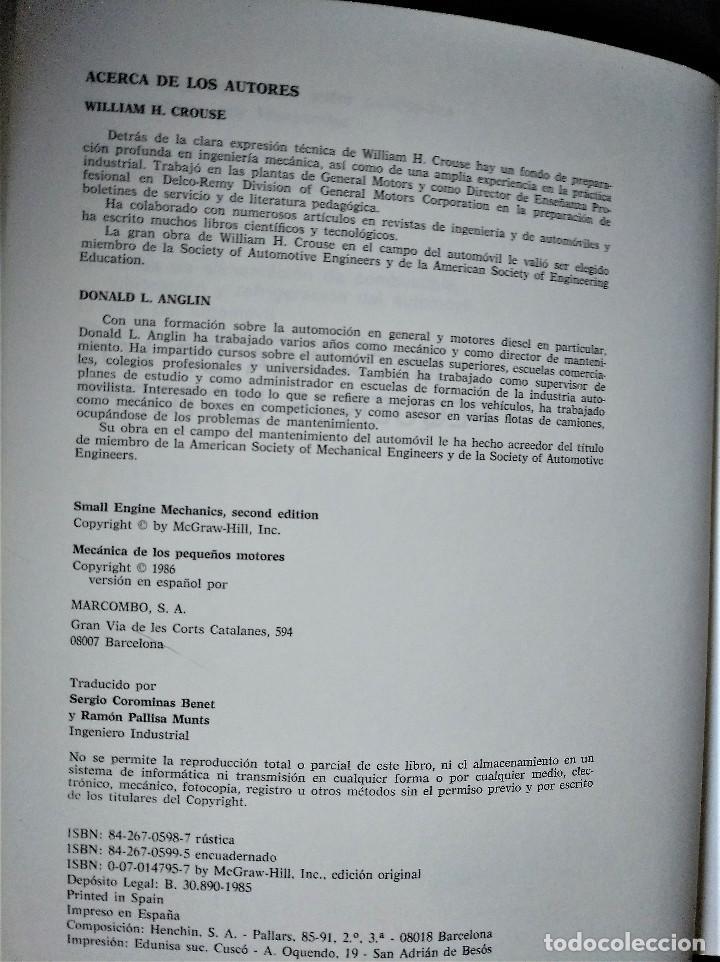 Libros de segunda mano de Ciencias: Mecánica de los pequeños motores, Crouse - Anglin, 1986 - Foto 3 - 153859498