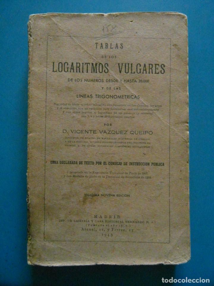 TABLAS DE LOS LOGARITMOS VULGARES. VICENTE VAZQUEZ QUEIPO. EDITORIAL HERNANDO 1943 (Libros de Segunda Mano - Ciencias, Manuales y Oficios - Física, Química y Matemáticas)