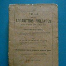 Libros de segunda mano de Ciencias: TABLAS DE LOS LOGARITMOS VULGARES. VICENTE VAZQUEZ QUEIPO. EDITORIAL HERNANDO 1943. Lote 155581930