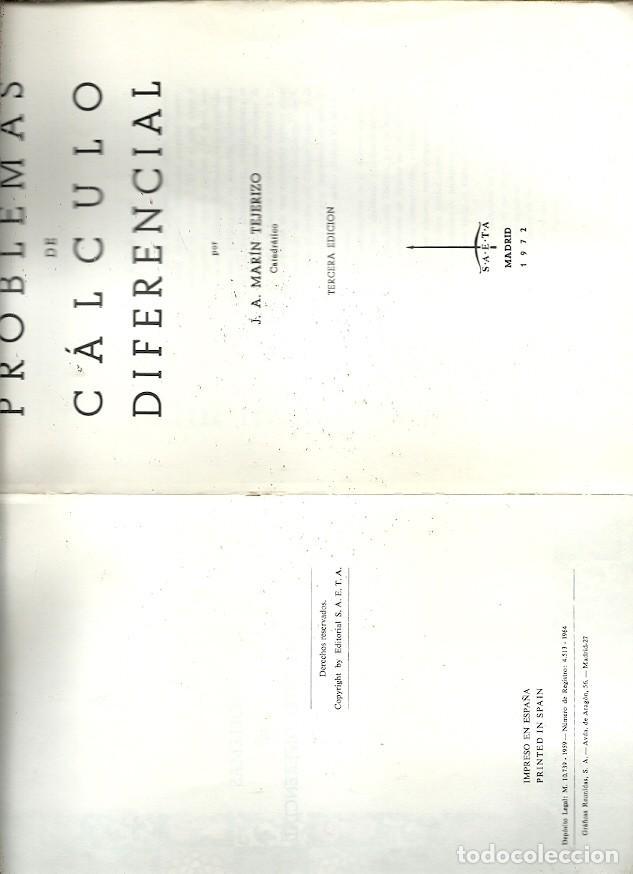PROBLEMAS DE CALCULO DIFERENCIAL J A MARIN TEJERIZO (Libros de Segunda Mano - Ciencias, Manuales y Oficios - Física, Química y Matemáticas)