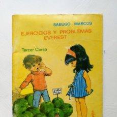 Libros de segunda mano de Ciencias: EJERCICIOS Y PROBLEMAS EVEREST TERCER CURSO. AÑO 1972.. Lote 161118724