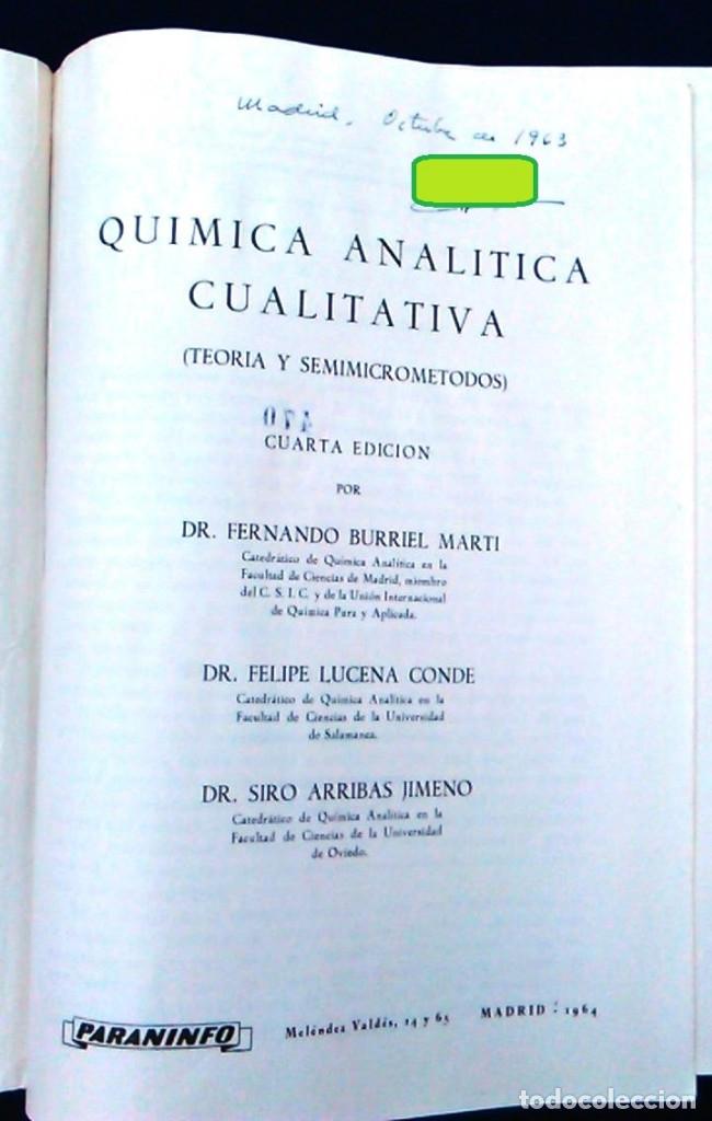 Libros de segunda mano de Ciencias: Libro Química analítica cualitativa Teoría y semimicrométodos. Burriel, Lucena y Arribas. Paraninfo. - Foto 2 - 96413291