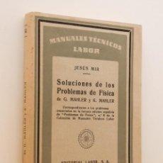 Libros de segunda mano de Ciencias: SOLUCIONES DE LOS PROBLEMAS DE FÍSICA DE G. MAHLER Y K. MAHLER - MIR, JESÚS. Lote 162718804