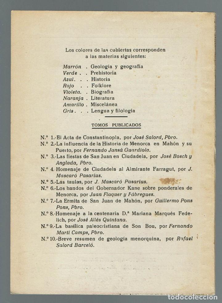 Libros de segunda mano: BREVE RESUMEN DE GEOLOGÍA MENORQUINA, POR RAFAEL SALORD BARCELÓ. AÑO 1955. (MENORCA.11.7) - Foto 2 - 162918642