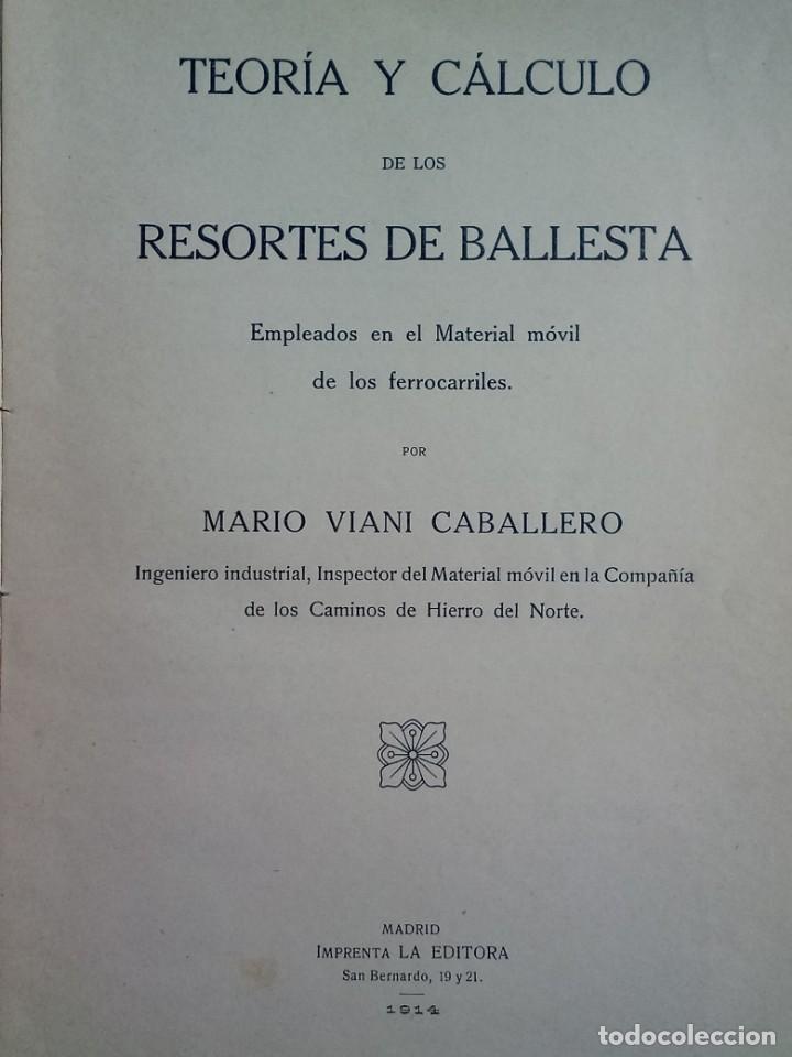 Libros de segunda mano de Ciencias: Resortes de Ballesta Ferrocarriles Mario Viani 1914 - Foto 3 - 164913466