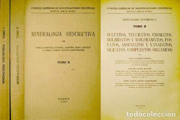 Libros de segunda mano de Ciencias: Mineralogía Descriptiva. [I: Elementos y sulfuros, halogenuros...II: Sulfatos, teluratos...]. 1952-5 - Foto 2 - 165456386