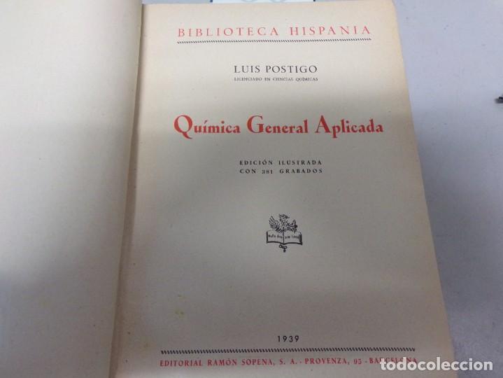 Libros de segunda mano de Ciencias: quimica general aplicada 1939 - Foto 2 - 166794926