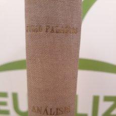 Libros de segunda mano de Ciencias: ANALISIS DIMENSIONAL.JULIO PALACIOS.1956 ESPASA.. Lote 166885889