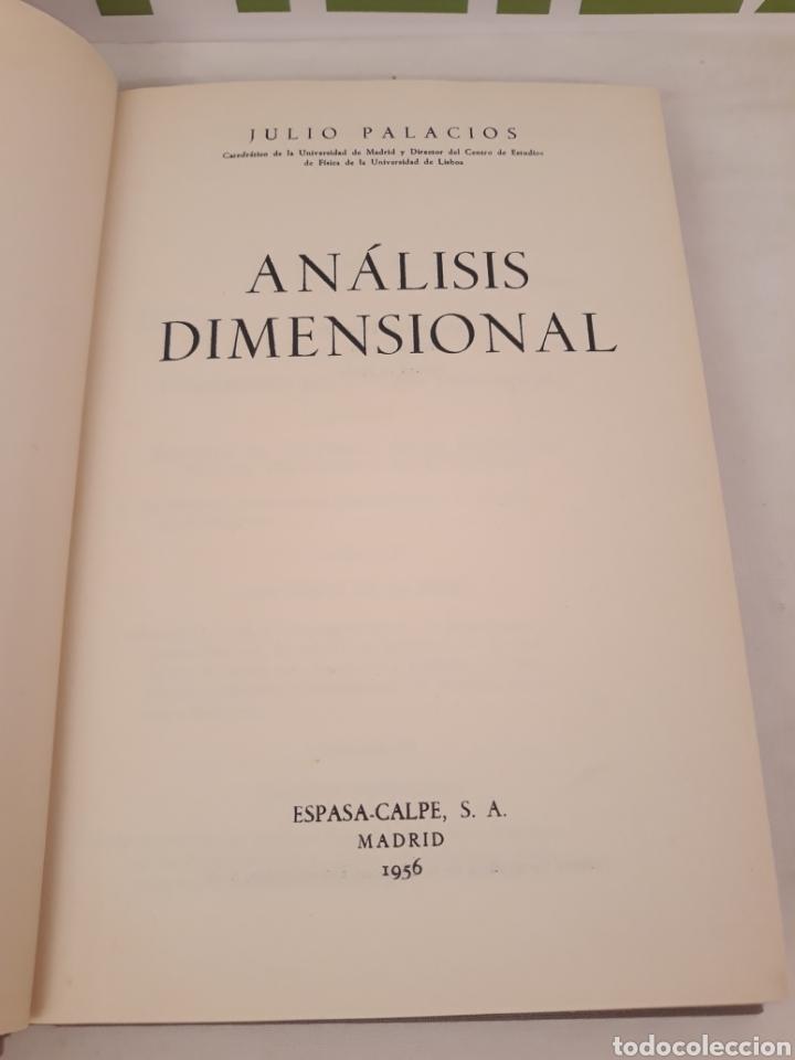 Libros de segunda mano de Ciencias: Analisis dimensional.Julio Palacios.1956 Espasa. - Foto 2 - 166885889