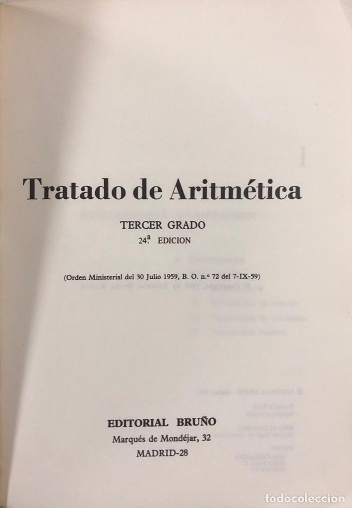 Libros de segunda mano de Ciencias: TRATADO DE ARITMETICA. TERCER GRADO. 24ª EDICION. EDITORIAL BRUÑO. MADRID, 1978. - Foto 2 - 166984800