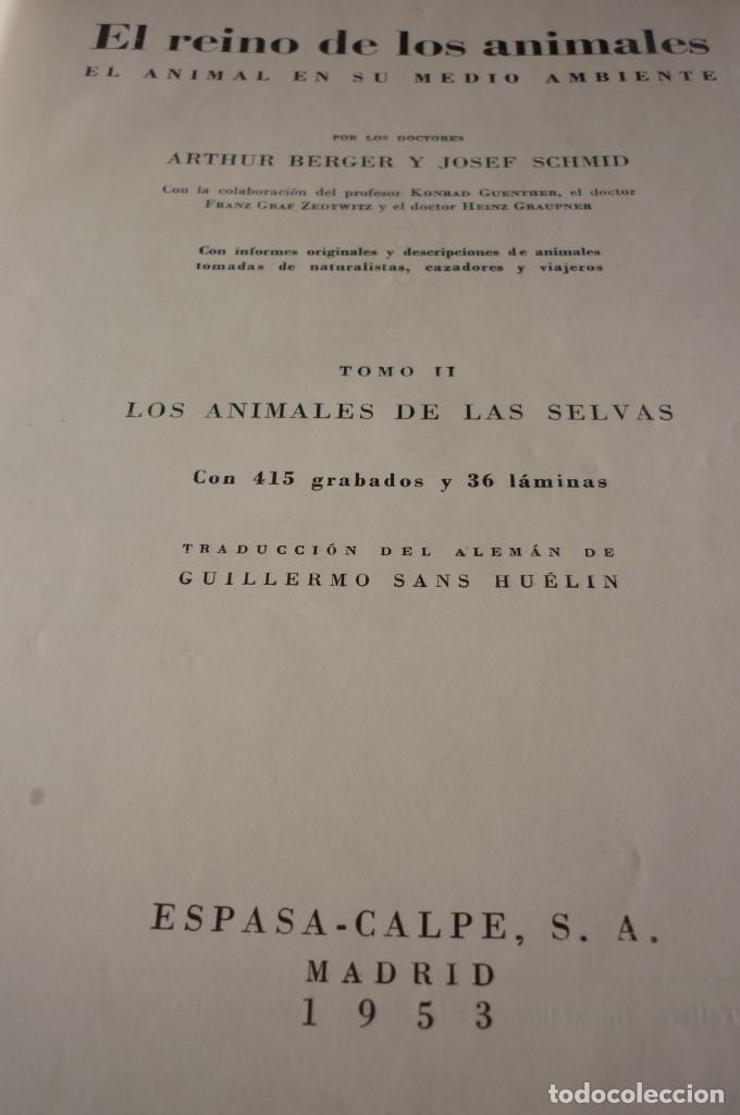 Libros de segunda mano: 1953 EL REINO DE LOS ANIMALES. ESPASA CALPE. TRES TOMOS. COMPLETA - Foto 4 - 168373880