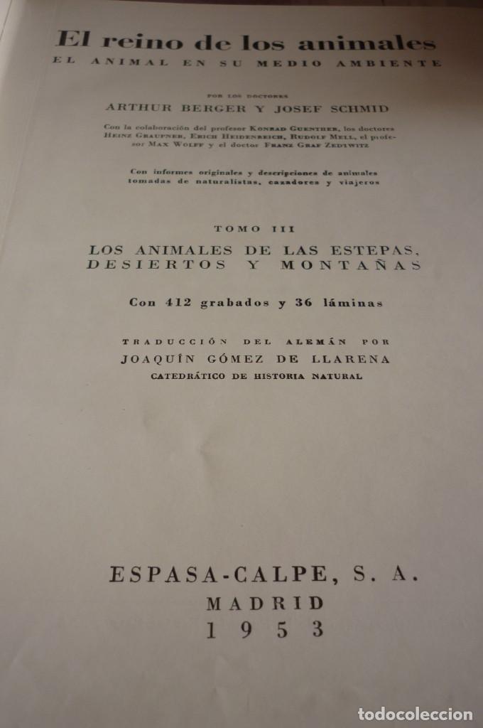 Libros de segunda mano: 1953 EL REINO DE LOS ANIMALES. ESPASA CALPE. TRES TOMOS. COMPLETA - Foto 5 - 168373880