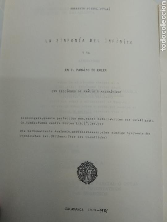 Libros de segunda mano de Ciencias: LA SINFONÍA DEL INFINITO Y ya en el paraiso de Euler NORBERTO CUESTA DUTARI ED. UNIV. De Salamanca - Foto 3 - 168476002