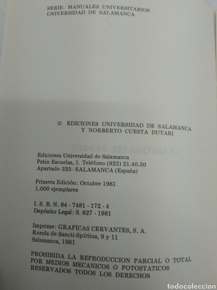 Libros de segunda mano de Ciencias: LA SINFONÍA DEL INFINITO Y ya en el paraiso de Euler NORBERTO CUESTA DUTARI ED. UNIV. De Salamanca - Foto 2 - 168476002