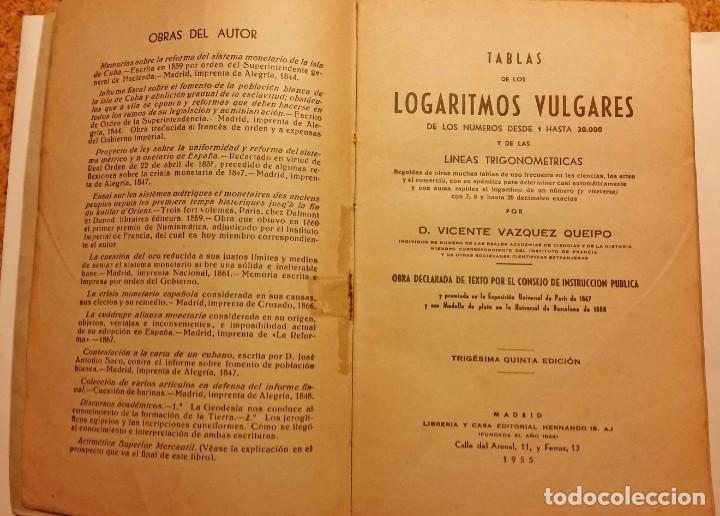 Libros de segunda mano de Ciencias: TABLAS LOGARITMOS VULGARES - Foto 3 - 168545188