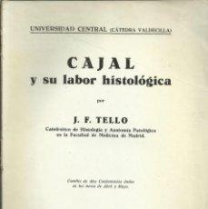 Libros de segunda mano: CAJAL Y SU LABOR HISTOLÓGICA, POR J.F. TELLO. MADRID 1935, 193 PAGINAS. COMPLETO. Lote 169139208