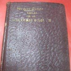 Libros de segunda mano de Ciencias: VAZQUEZ QUEIPO. TABLAS DE LOS LOGARITMOS VULGARES.IMPRENTA SUCESORES DE HERNANDO.. Lote 170267952