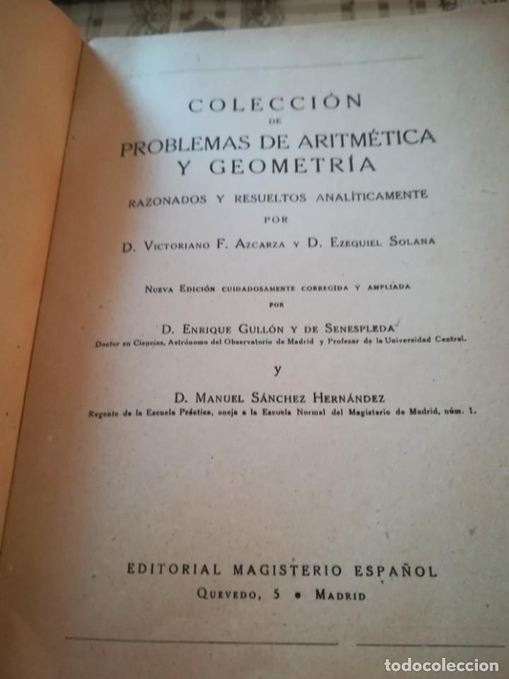Libros de segunda mano de Ciencias: Colección de problemas de aritmética, geometría, álgebra y física elemental - V.F. Ascarza-E. Solana - Foto 3 - 170306728