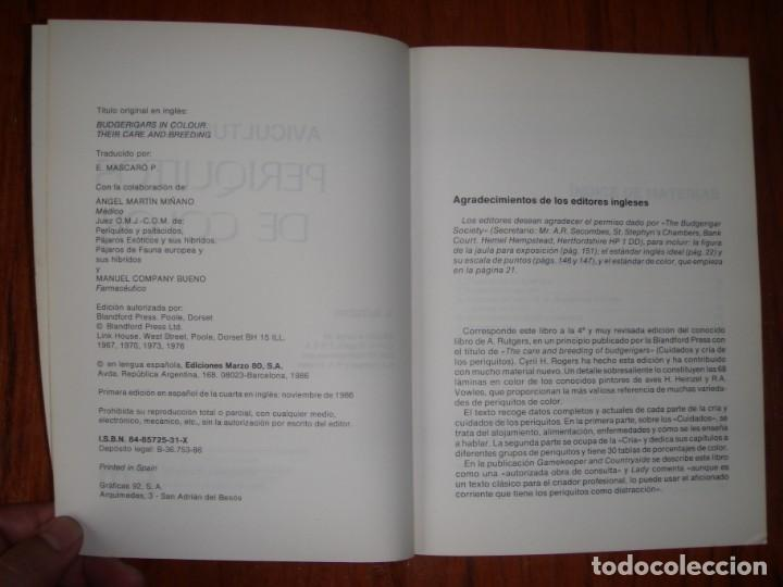 Libros de segunda mano: LIBRO PERIQUITOS DE COLOR A RUTGERS 1ª ED EN ESPAÑOL 1986 - Foto 3 - 171748407