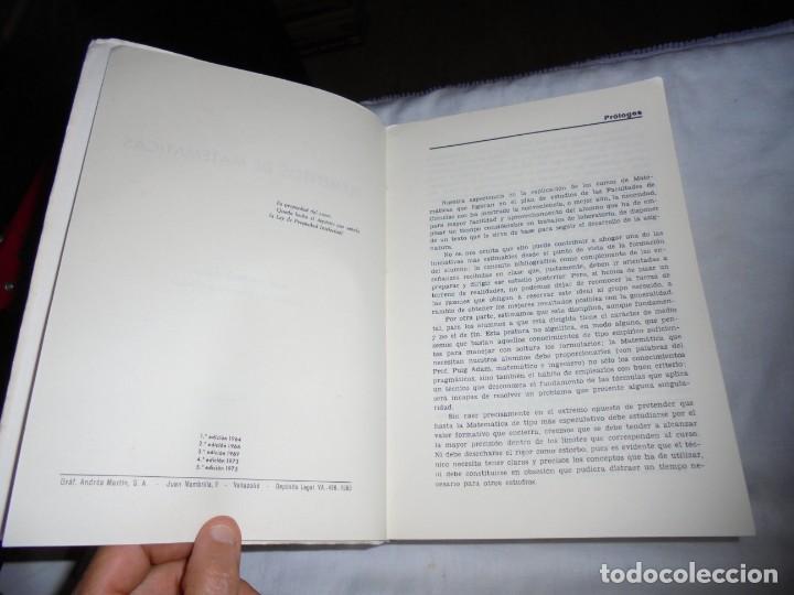 Libros de segunda mano de Ciencias: ELEMENTOS DE MATEMATICAS.JOSE MARTINEZ SALAS.VALLADOLID 1975.-5ª EDICION - Foto 4 - 172112894