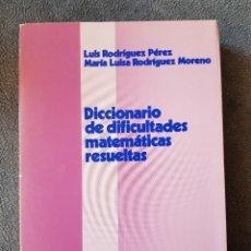 Libros de segunda mano de Ciencias: DICCIONARIO DIFICULTADES MATEMATICAS RESUELTAS. RODRÍGUEZ/RODRÍGUEZ. OIKOS. 1984. Lote 173191133