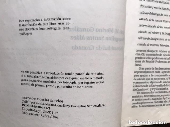 Libros de segunda mano de Ciencias: Álgebra lineal. L. Merino - Foto 3 - 173357479