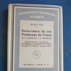 Libros de segunda mano de Ciencias: SOLUCIONES A LOS PROBLEMAS DE FISICA LABOR . Lote 173551174