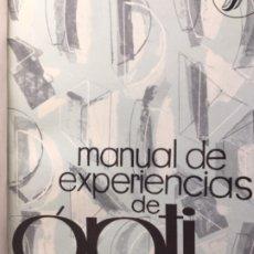 Libros de segunda mano de Ciencias: MANUAL EXPERIENCIAS DE OPTICA ENOSA 1963. GRAN ENCUADERNACION EN PLENA PIEL.ESCUELA. Lote 174566344